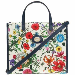 Gucci White Navy Canvas Leather Floral Print Tote